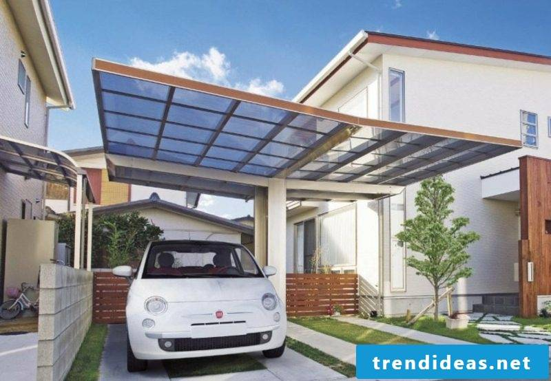 Carport itself build glass roof two cars