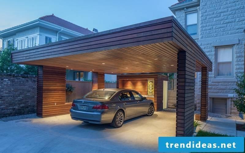 Carport itself build modern wooden