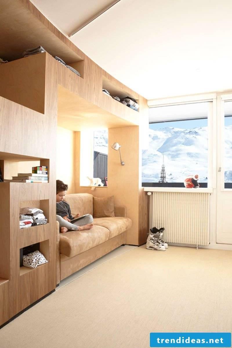 Loft bed double bedroom set up