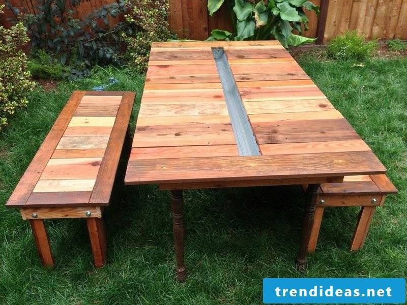 garden table build yourself reclaimed wood picnic table