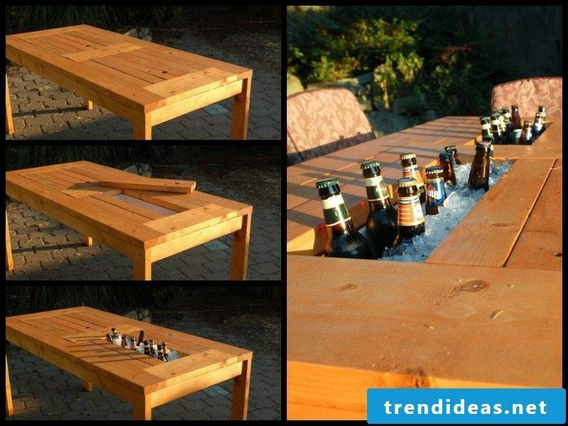 garden table build yourself patio table with wine cooler