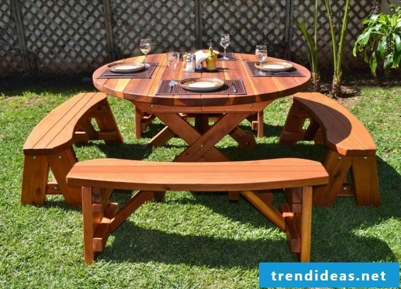 Garden table itself build round picnic table design in the garden