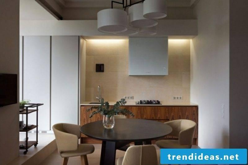 Indirect LED lighting dining area