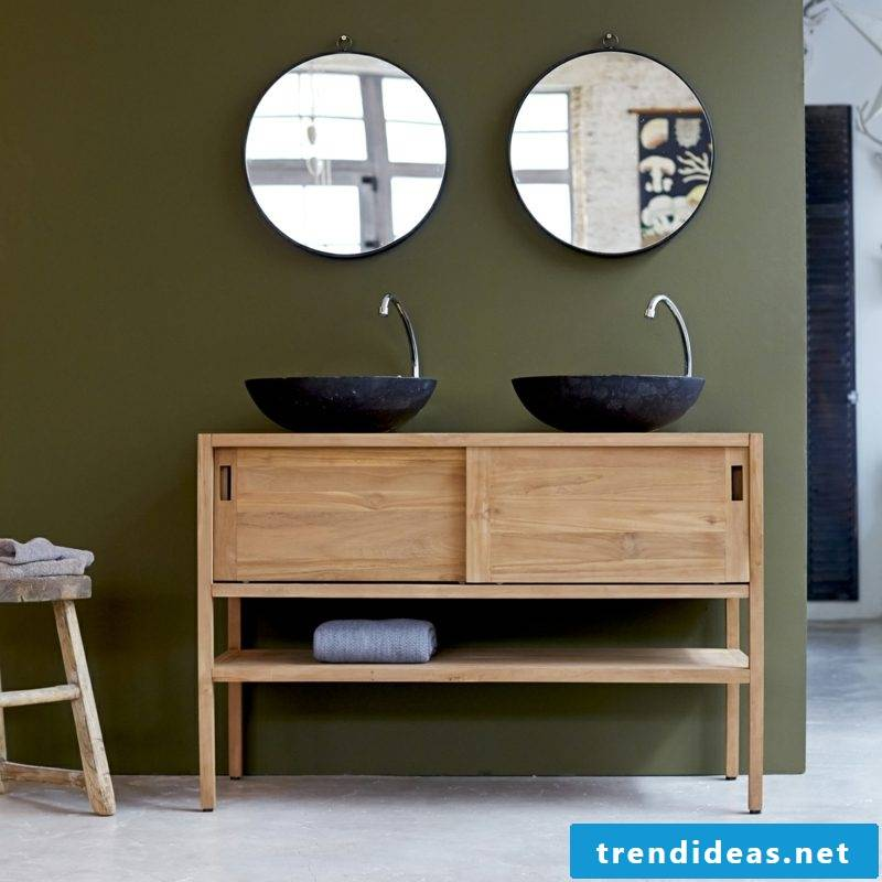 Wooden vanity with two sinks