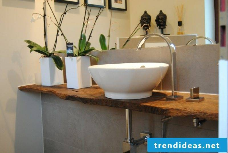Washstand made of driftwood porcelain sink