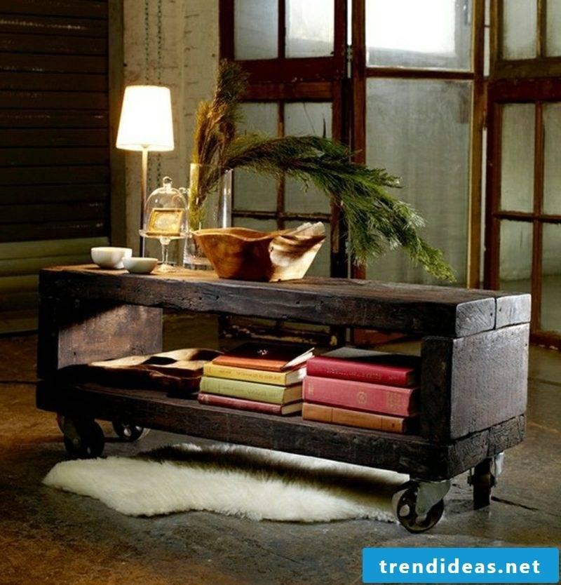 Wooden table on castors modern design