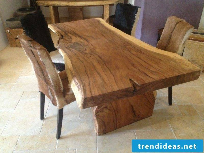 Dining table solid wood rustic look