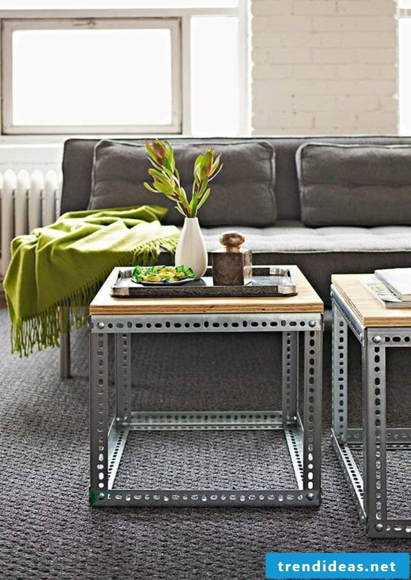 Coffee table wood plate metal frame industrial look