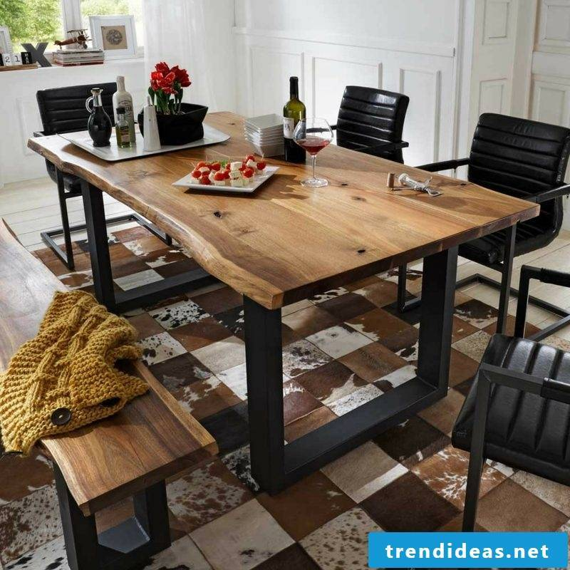 modern dining table in solid wood with metal frame