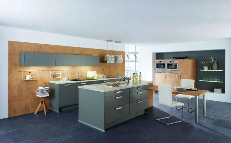Kitchen island in gray modern kitchen design