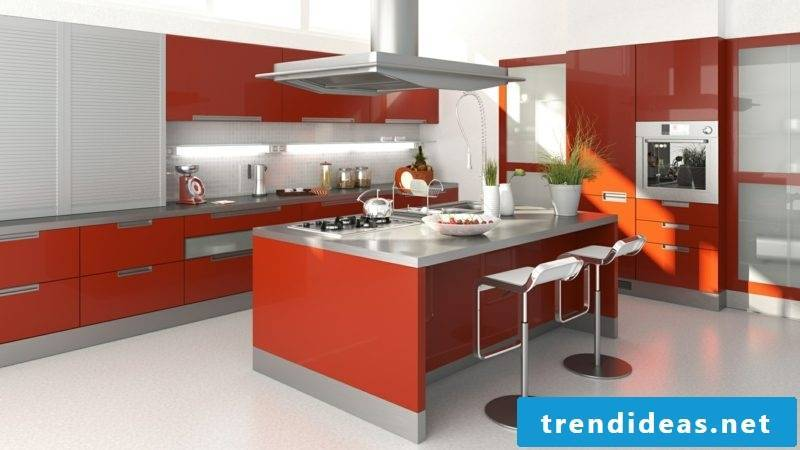Kitchen island in red