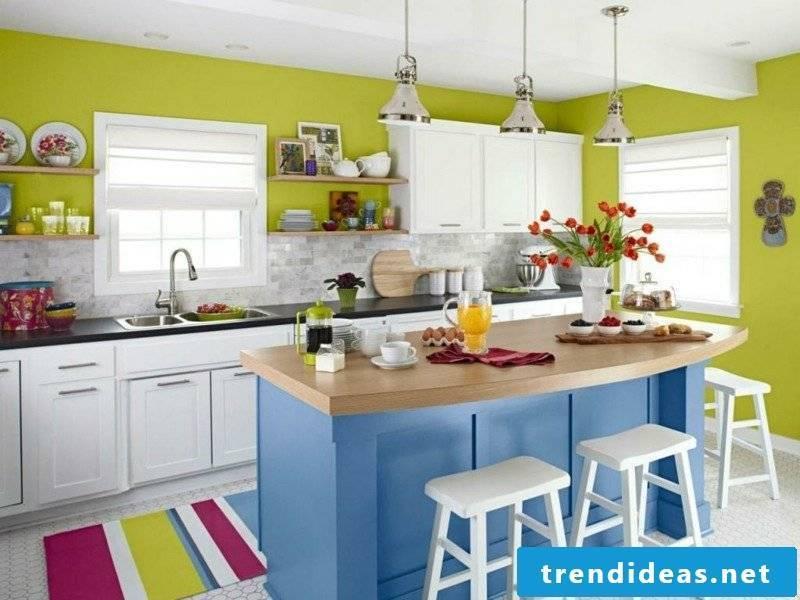 Kitchen colorful kitchen island