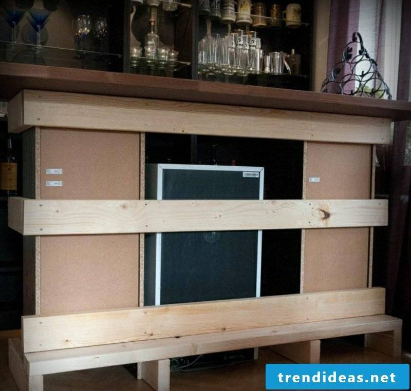 Build kitchen counter and decorate with wood