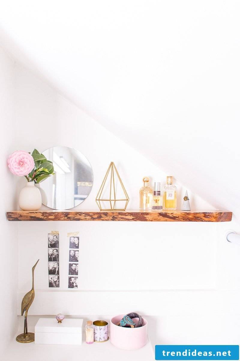 Shelf wood in Scandinavian style