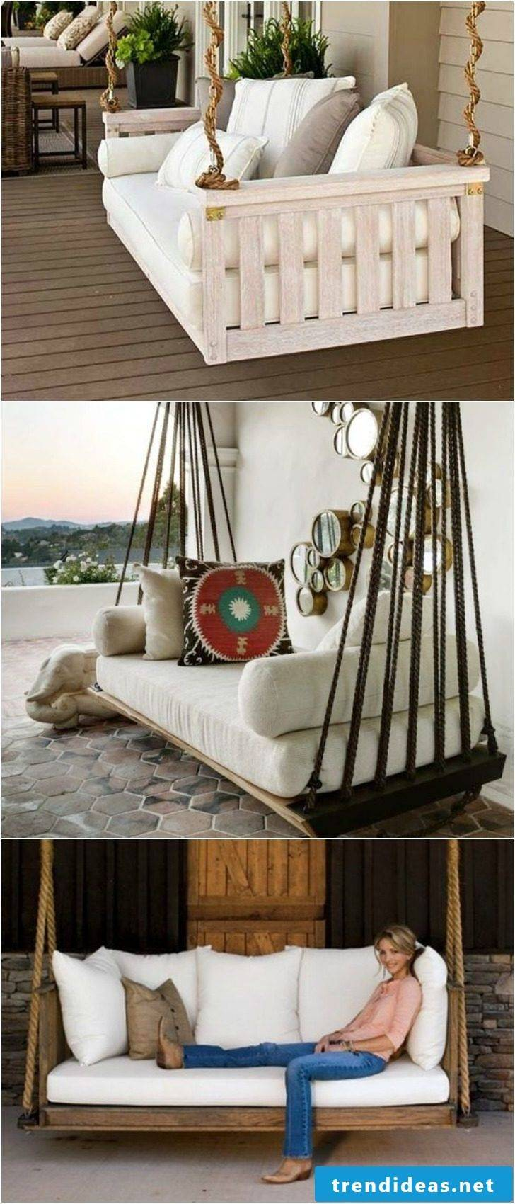 Hanging bed on the balcony