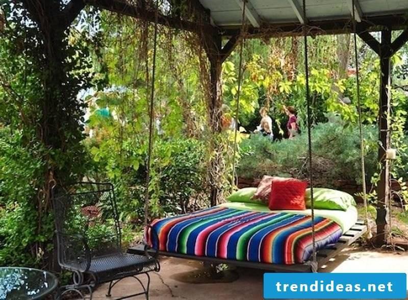 Hanging bed in the garden