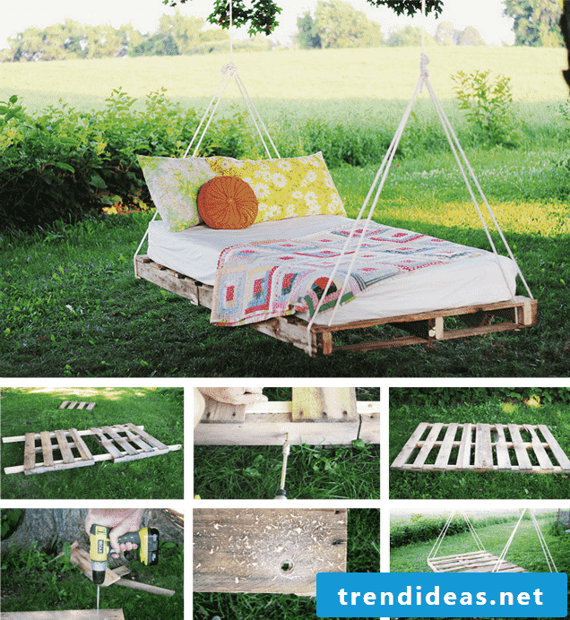 Build your own suspended bed - bed of pallets in the garden