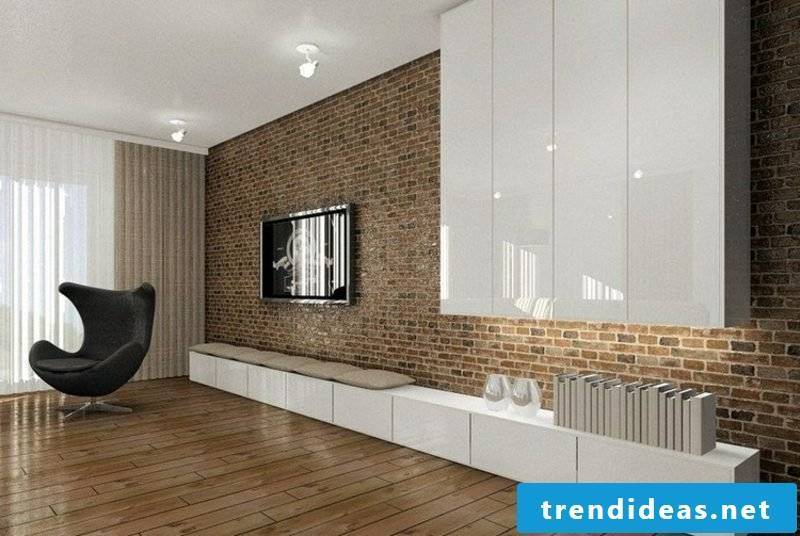 TV wall of brick in the living room gorgeous look