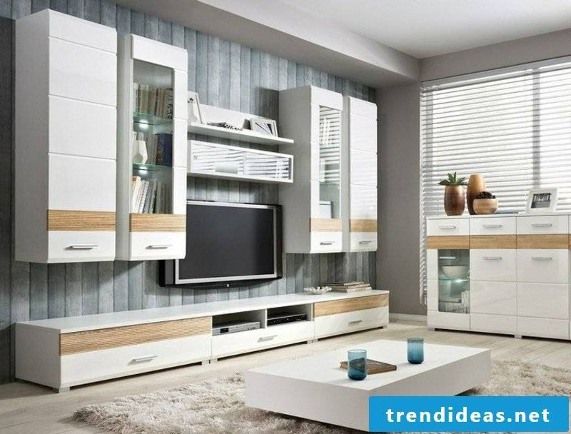 TV wall as an accent in the living room original wallpaper in wood look