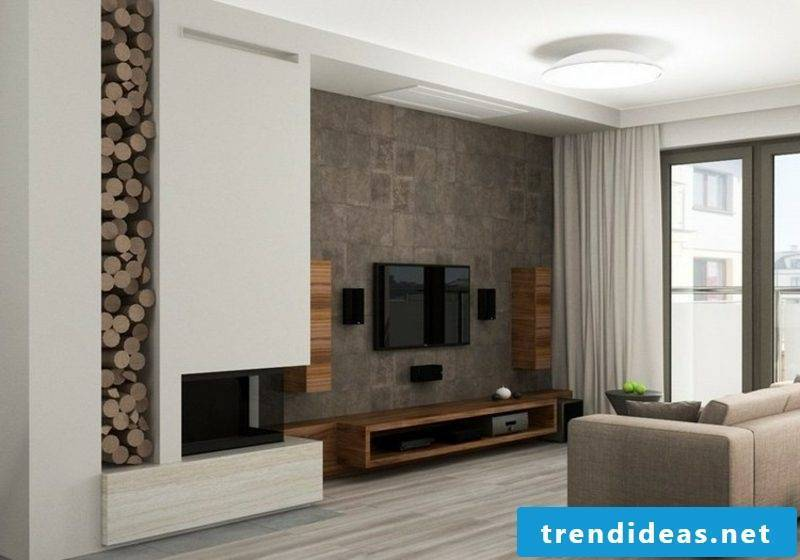 TV wall living room stone look