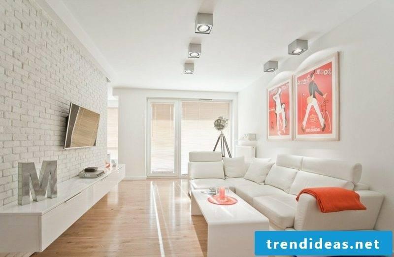 TV wall living room white bricks elegant look