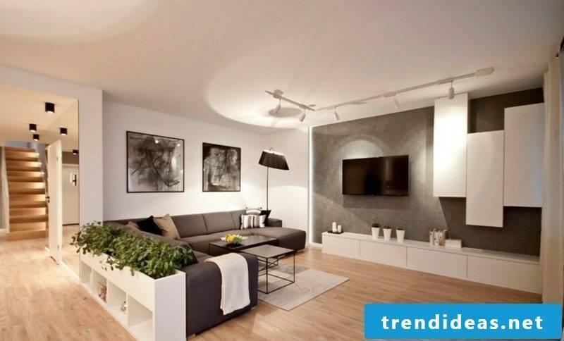 TV wall living room wonderful look concrete look
