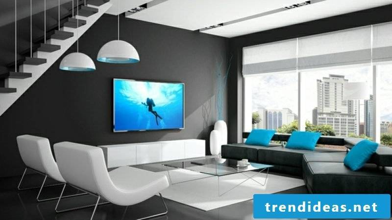 Living room in black and white TV, mounted on the wall
