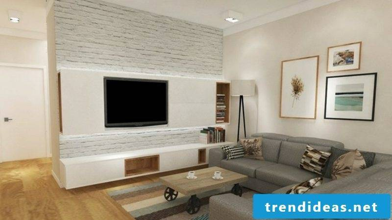 TV wall with shelf in white modern design