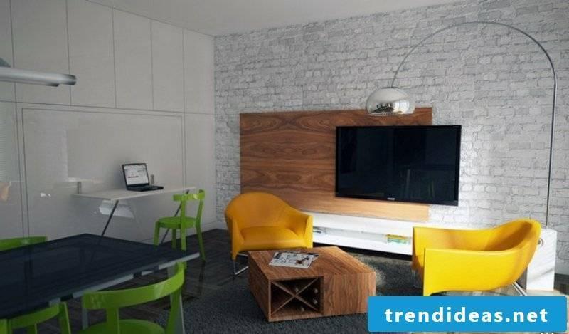 elegant TV wall living room wall panels made of wood