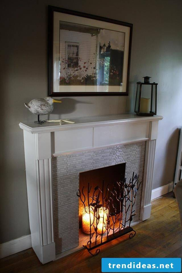 Fireplace console in the living room
