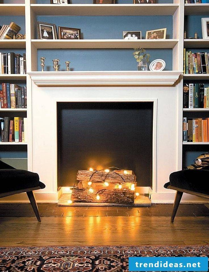 Chimney console decoration with wood