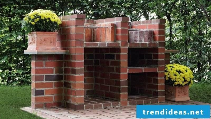 Barbecue built of bricks itself