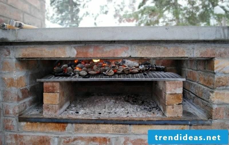 Stone barbecue itself build firebricks grill grate