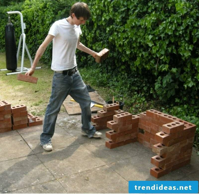 Stone barbecue itself build garden