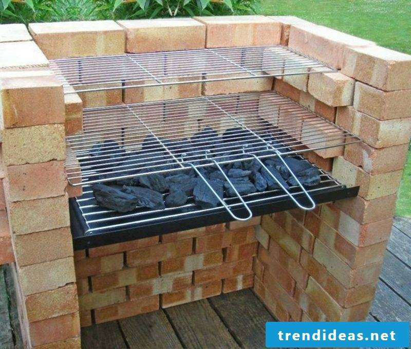 Stone barbecue itself build two barbecue areas