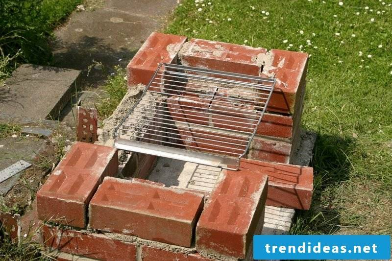 DIY stone barbecue build garden