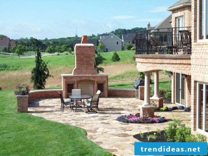 Outdoor fireplace bricks interesting design