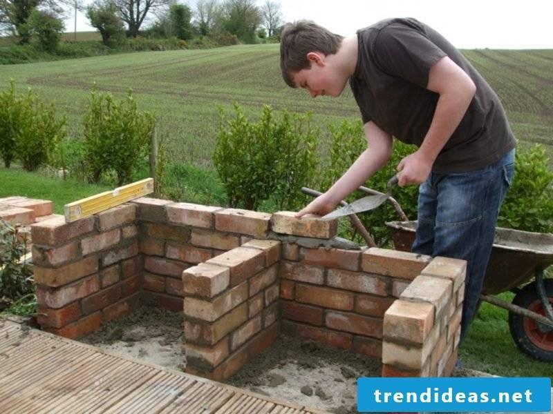 creative DIY ideas stone barbecue in the garden itself wall