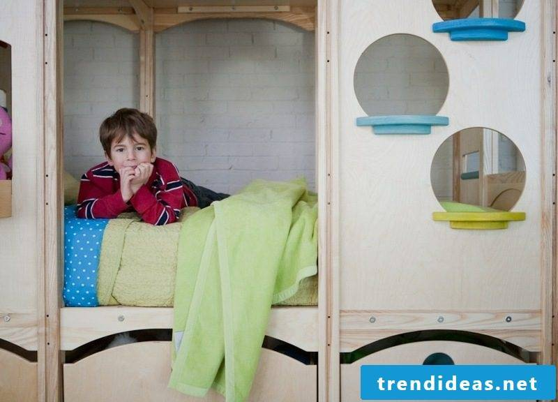 Game bed made of solid wood with growing children's room