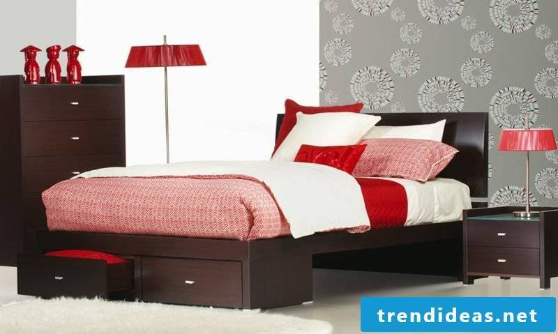 Queen size bed wood brown elegant design