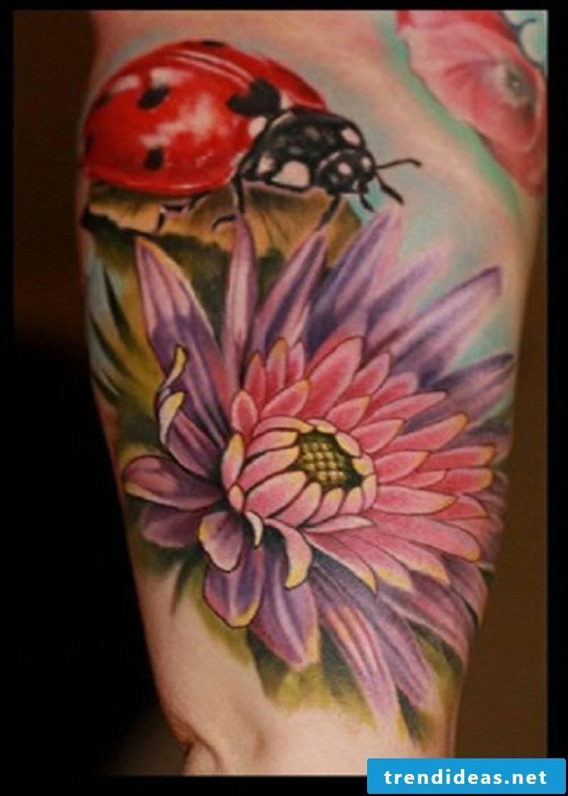 Tattoos flowers and their symbolism ladybug