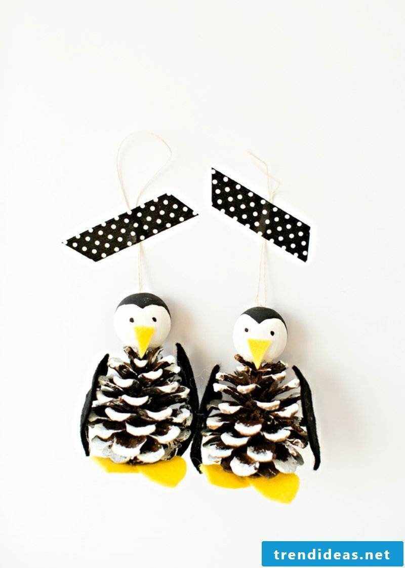 Tinker with pinecone penguins