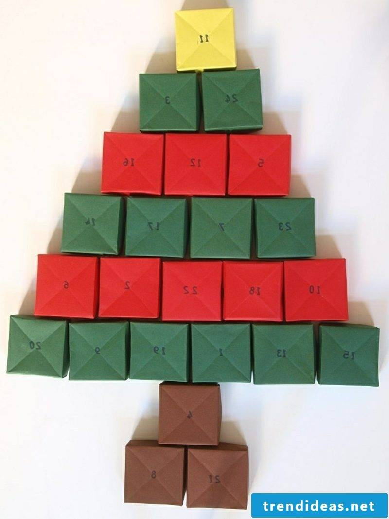 Advent calendar from colored paper boxes