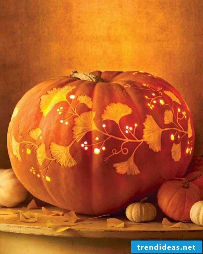 Halloween pumpkin fine carving