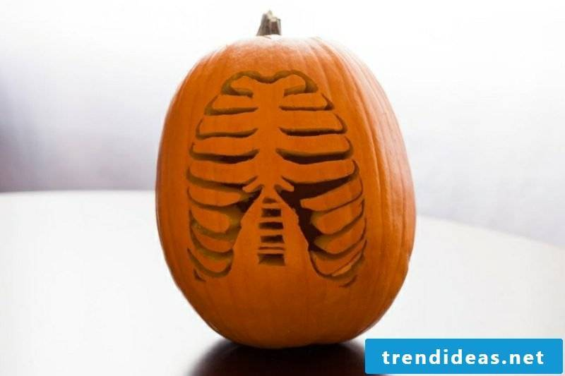 Pumpkins carve Halloween ribcage