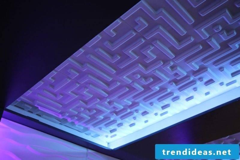 ceiling paneling illuminated