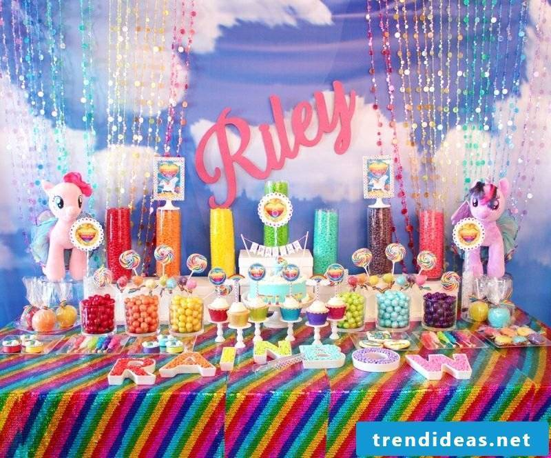 great children's birthday decoration in rainbow colors