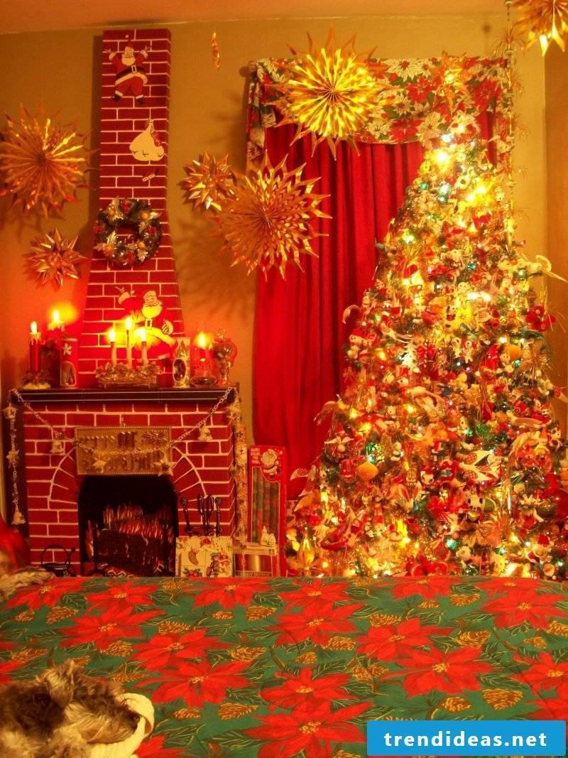 Decorative fireplace made of cardboard decoration