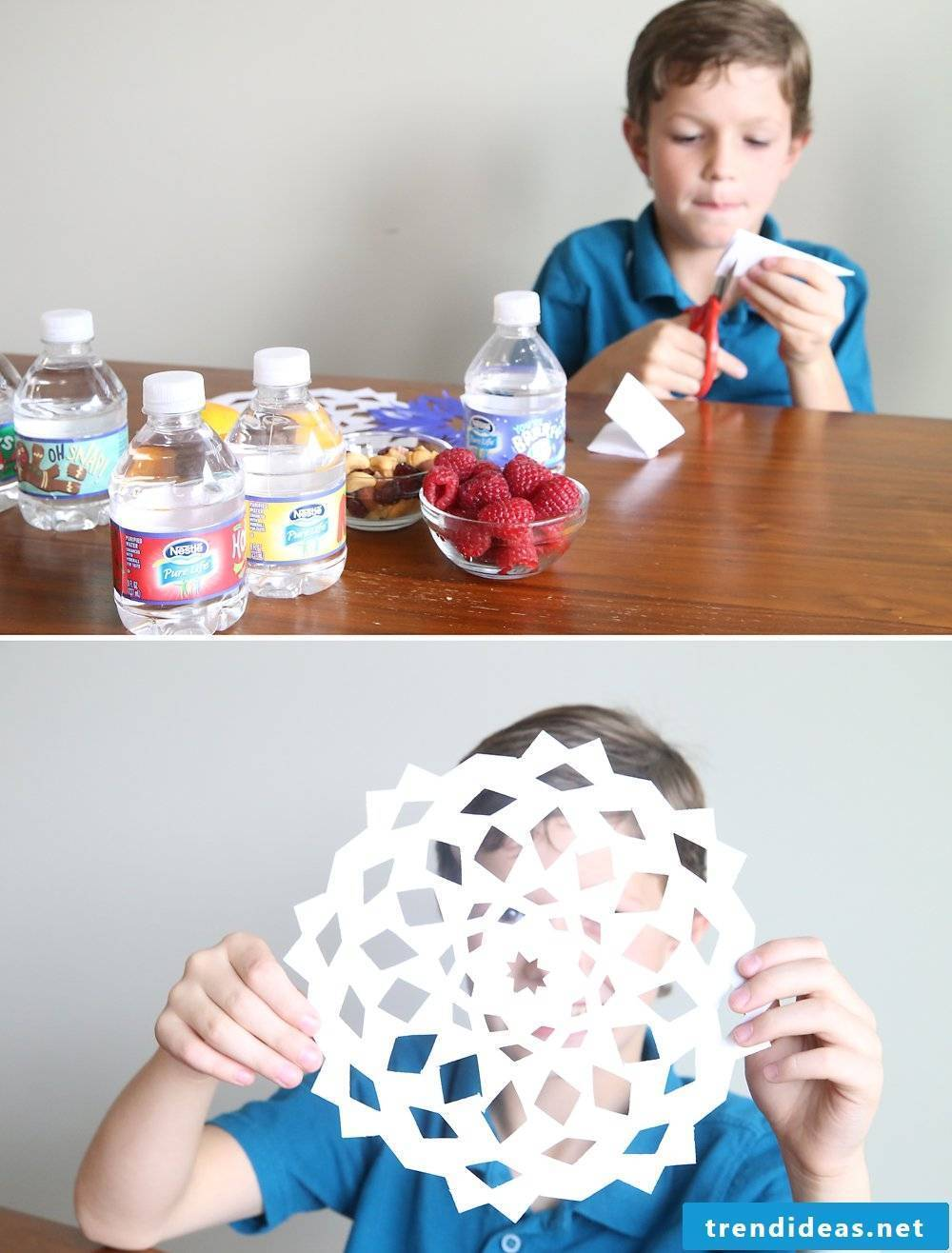 Christmas crafts with children - tinker snowflakes
