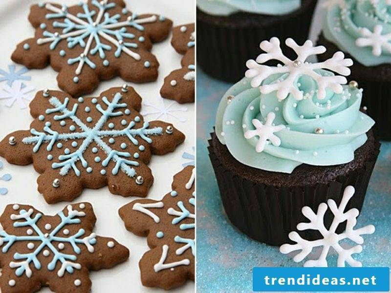 Christmas snowflake cupcake and gingerbread cookies cupcakes